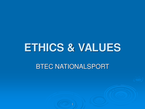 ethics and values in sport