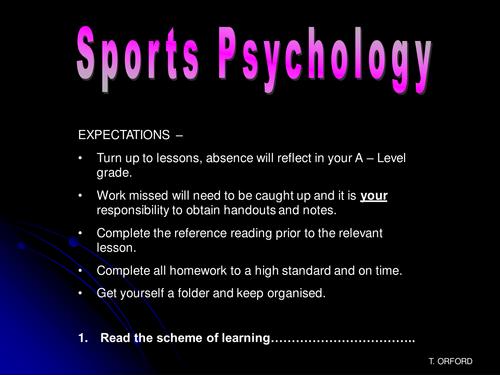 Sports Psychology - Personality - A2