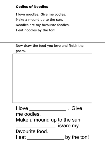 Poem worksheets by loretolady | Teaching Resources