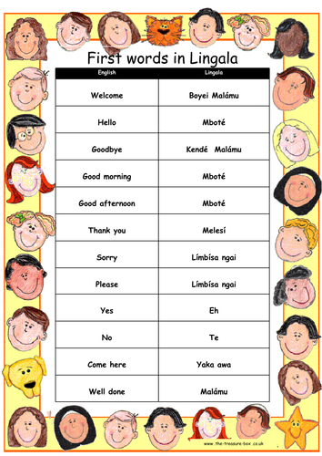 Useful words and phrases in Lingala ~ Ideal for children with a Congolese heritage