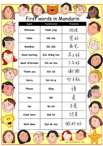 Useful words and phrases in Manadarin ~ Ideal for children with a Chinese Mandarin speaking heritage
