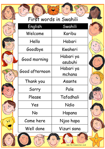 Useful Words And Phrases In Swahili By Thetreasurebox