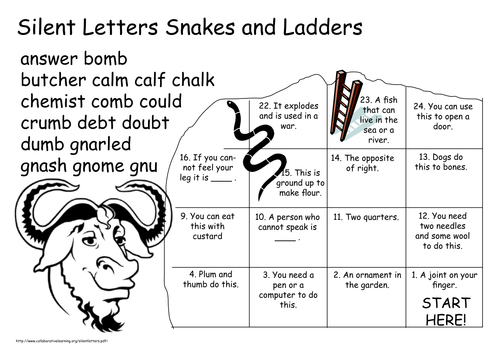 Silent Letter Snakes and Ladders Games