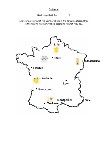 Map Of France Weather.French Weather Activities Quel Temps Fait Il By Ahardiment