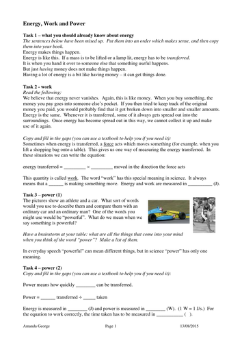 Energy, Work and Power Task Sheet by pand - Teaching Resources - Tes