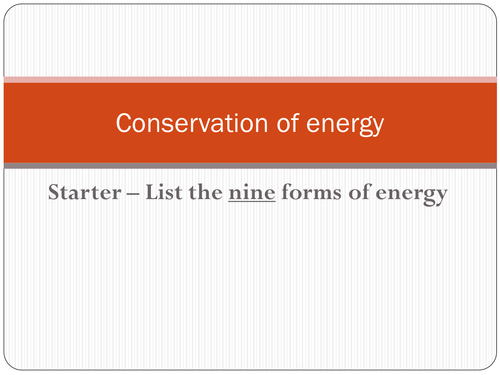 Conservation of energy PP
