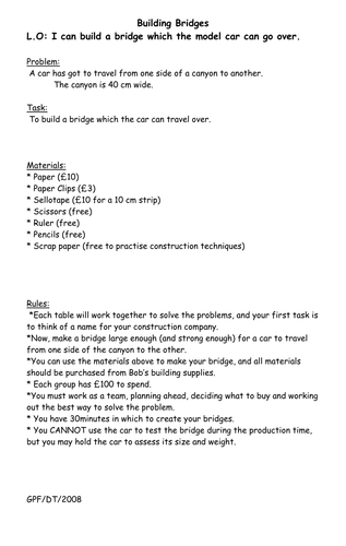 Building Bridges By Gillstally Teaching Resources Tes