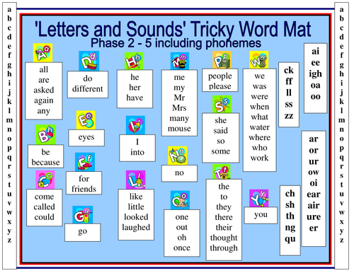 letters and sounds tricky word mat by reasid teaching resources tes