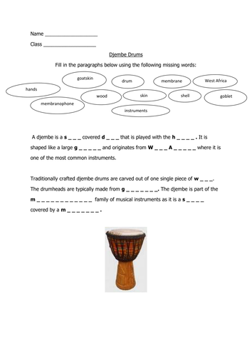 Djembe drumming worksheet and picture to colour