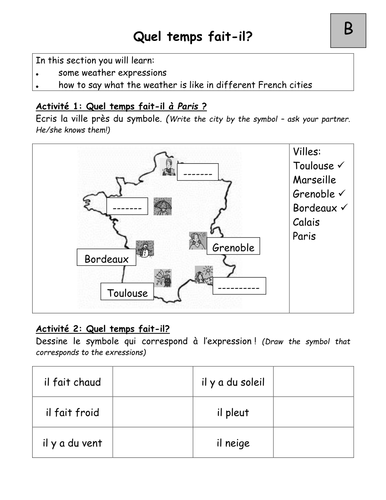 Pairwork Worksheets On Weather In French By Tgroskop Teaching