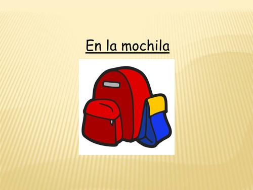 Spanish schoolbag items