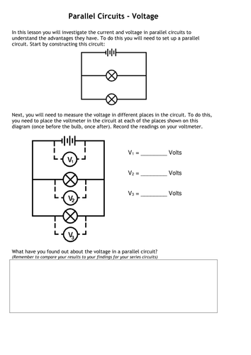 Current + Voltage in circuits questions worksheet by ...