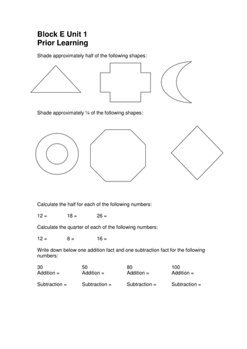Year 3/4 Differentiated prior learning worksheets