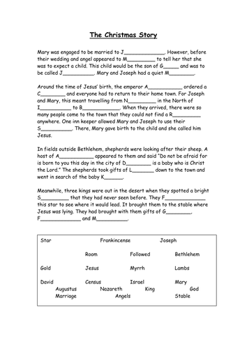 Christmas story cloze procedure - differentiated