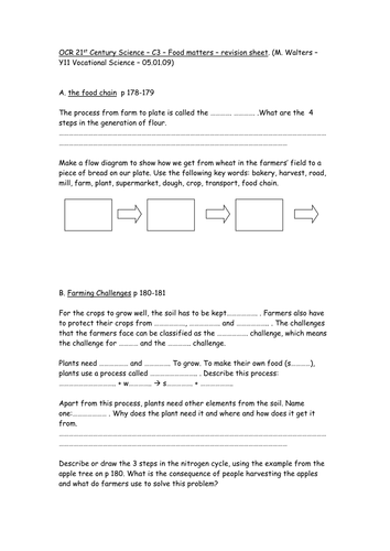 OCR 21st Century C3 - food matters (revision worksheet for use with OCR Science Foundation textbook)