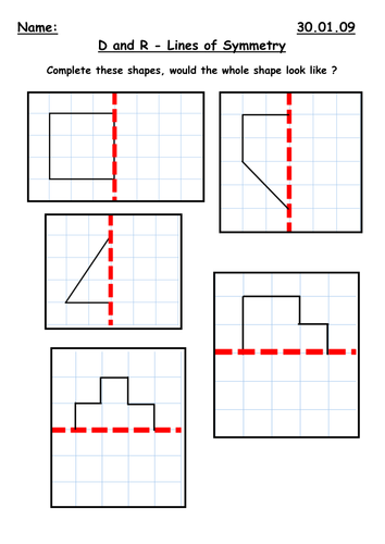 Drawing Lines Of Symmetry Worksheets : Symmetry along a mirror line by kbarker teaching