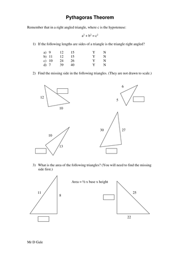 Pythagoras Theorem Worksheet - KS3/KS4