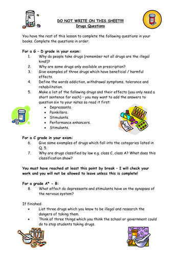 Differentiated Drugs Worksheet By Rubberchicken2 Teaching