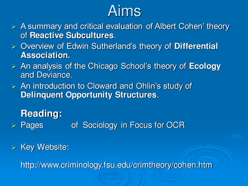 Crime and Deviance: Albert Cohen and Reactive Subcultures