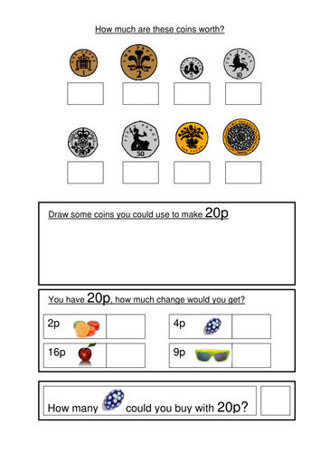 Money worksheets KS1- coin recognition, change and problem solving ...