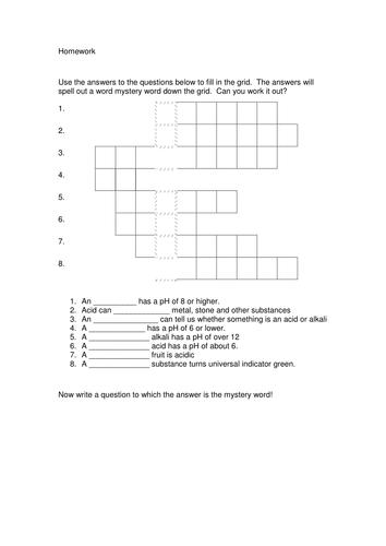 Acid & Alkali Key Words Homework