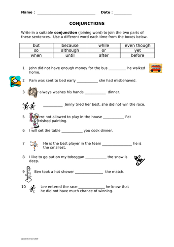 Conjunction Sentences By Jamakex Teaching Resources Tes