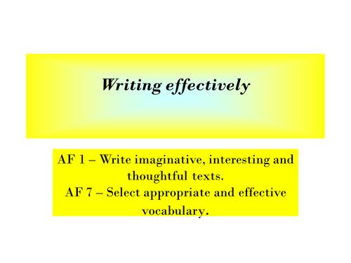 Writing: effective vocabulary, imaginative texts