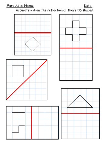 Worksheets Reflection Worksheet reflection of shapes by kbarker86 teaching resources tes