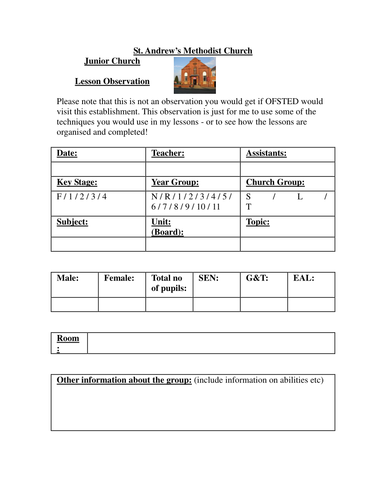 Blank Lesson Observation Form By Mramsden93 Teaching Resources Tes