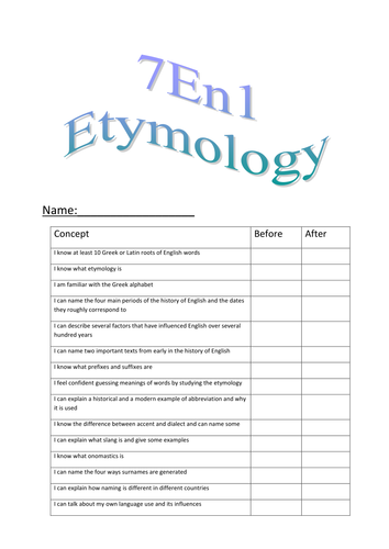 Etymology Booklet: History of English by a.k.hughes - Teaching ...