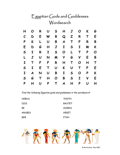 Ancient Egypt Gods and Goddesses Wordsearch