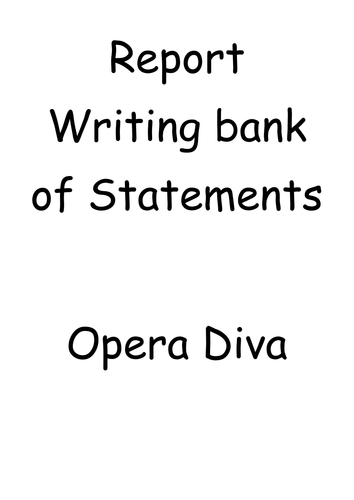 Levelled Report Writing Statement Bank by Opera Diva