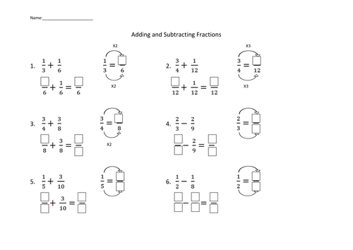 Adding and Subtracting Fractions Worksheet by dirin Teaching – Add and Subtract Fractions with Unlike Denominators Worksheets