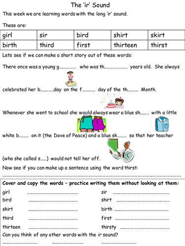 Phonics Phase 5 homework or lesson worksheets