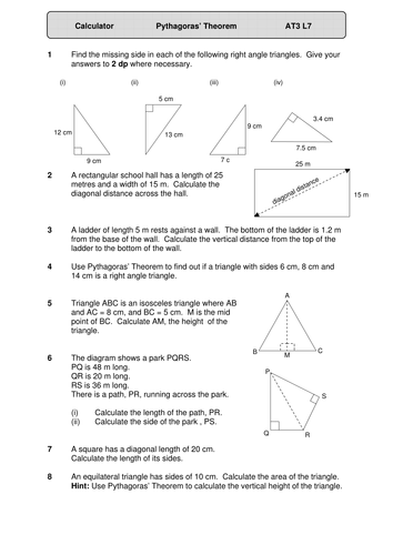 Pythagoras. Worksheet. Geometry. KS4.