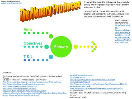 The Plenary Producer. Ideas. KS2, KS3 (11-14)  PPT