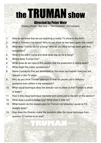 truman show viewing worksheets by ritski teaching resources tes. Black Bedroom Furniture Sets. Home Design Ideas