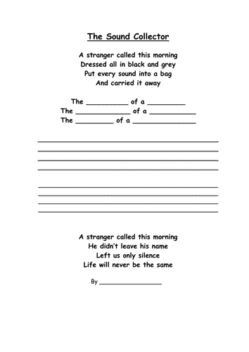 poem the sound collector by claireocallaghan uk teaching resources tes. Black Bedroom Furniture Sets. Home Design Ideas