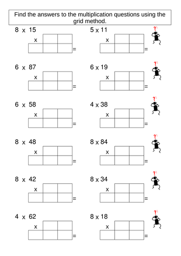 multiplication grid method worksheet generator by skettle teaching resources. Black Bedroom Furniture Sets. Home Design Ideas