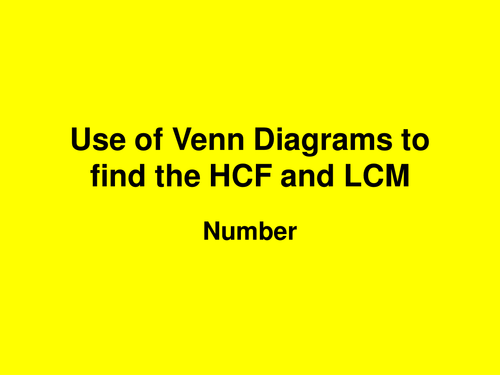 Lesson On Venn Diagrams And Hcf And Lcm By Sls3165 Teaching