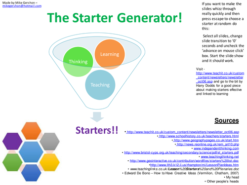 The Starter Generator: KS2 - 4(Ages 7-16) Starters