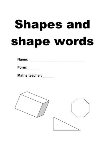 Worksheet - Shapes and their Descriptions
