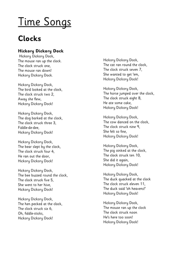 Songs to support early mathematical concepts