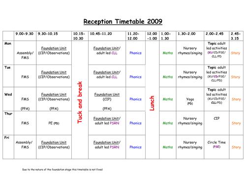 Calendar Ideas Reception : Reception timetable by jadeyp teaching resources tes