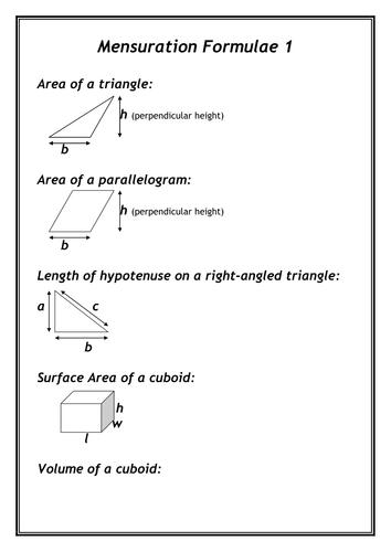 Mensuration Formulae record sheet