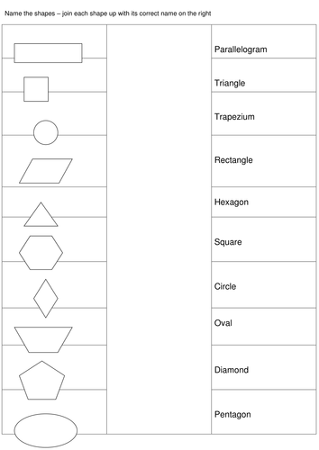 match up the shapes to the correct name