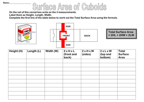 Surface Area of Cuboids KS3 and KS4 Worksheet by missidontgetit – Surface Area Worksheet