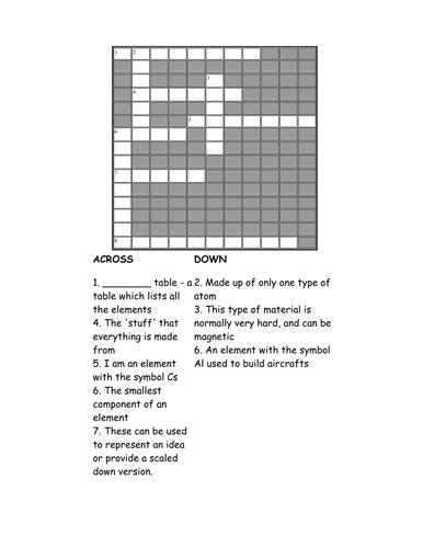Elements crossword