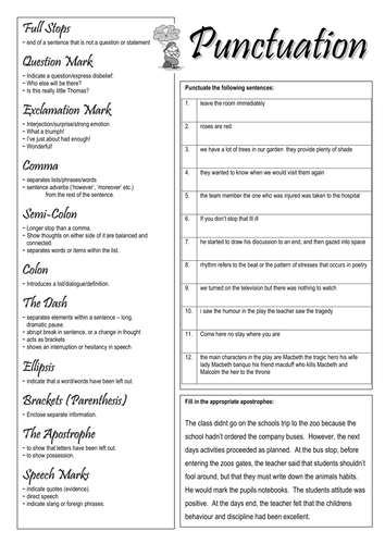 punctuation worksheet by smudge78 teaching resources tes. Black Bedroom Furniture Sets. Home Design Ideas