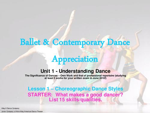 Ballet & Contemporary Scheme of Work Term 1a